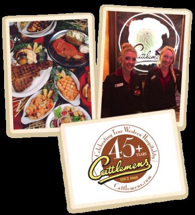 Santa Rosa employees Cattlemens logo and food