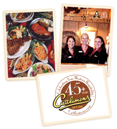 Redding employees with Cattlemens logo and food