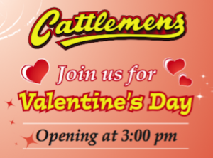 Valentines Day open at 3pm on February 14th