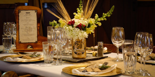Table decorated for Cattlemens 50th Anniversary