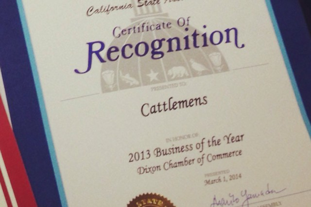 Certificate of Recognition Dixon Chamber of Commerce