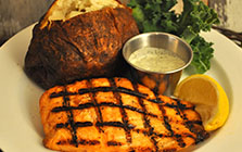 grilled atlantic salmon with baked potato