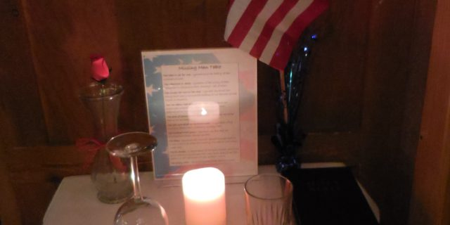 Missing Man table in Petaluma in honor of Veterans Day