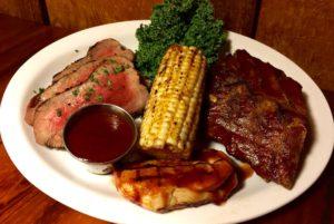bbq combo platter, corn on the cob, bbq chicken, tri-tip, baby back ribs