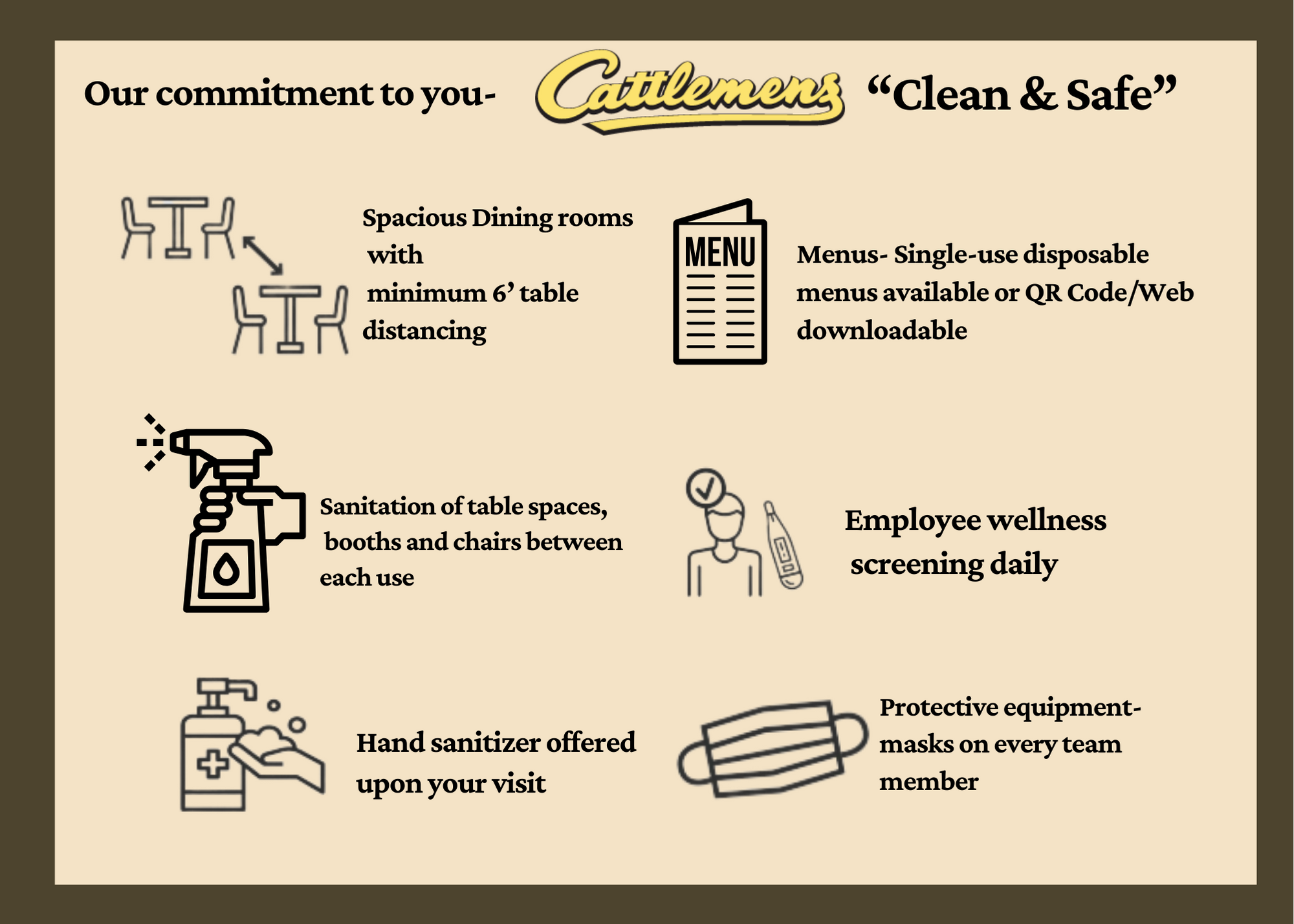Cattlemens Commitment to Guests Clean and Safe