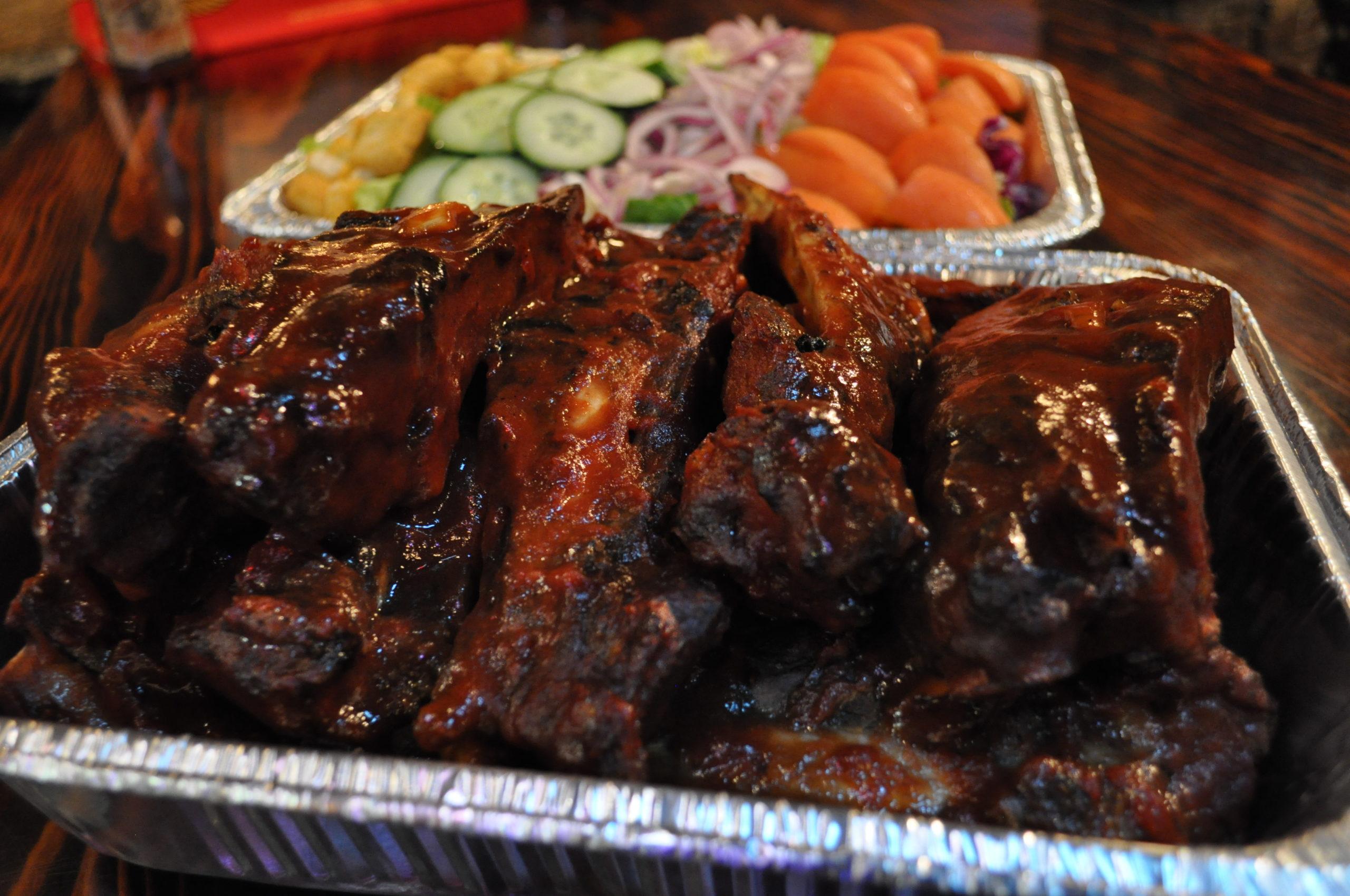 beef ribs and salad